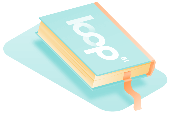 book with loop logo on